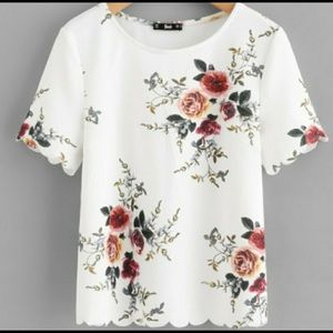 SHEIN. Scalloped Floral Shirt